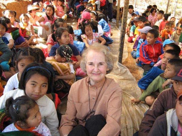 Bernice Koehler with Shan refugees